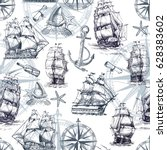 seamless marine pattern in... | Shutterstock .eps vector #628383602