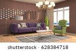 interior living room. 3d... | Shutterstock . vector #628384718
