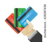 businessman hand holding multi... | Shutterstock .eps vector #628387658