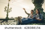 two young girlfriends traveling ... | Shutterstock . vector #628388156