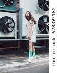 streetstyle  fashion. young... | Shutterstock . vector #628392182