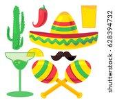 cinco de mayo festival set from ... | Shutterstock .eps vector #628394732