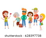 tour guide with group of... | Shutterstock .eps vector #628397738