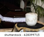 cremation urn in front of...   Shutterstock . vector #628399715