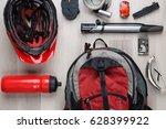 photo top of biker accessories | Shutterstock . vector #628399922