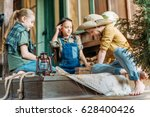 cute kids playing treasure hunt ... | Shutterstock . vector #628400426
