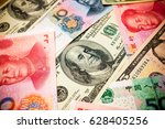 chinese yuan note and u.s.... | Shutterstock . vector #628405256