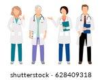 people in white coats vector...   Shutterstock .eps vector #628409318