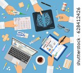 doctors workplace concept with... | Shutterstock .eps vector #628412426