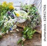 herbs medicine flowers | Shutterstock . vector #628417436