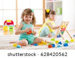 adorable children playing... | Shutterstock . vector #628420562