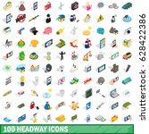 100 headway icons set in...   Shutterstock .eps vector #628422386