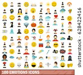 100 emotions icons set in flat... | Shutterstock .eps vector #628422416