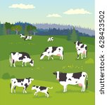 Stock vector landscape with pasturing cows with baby cows 628423502