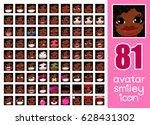vector set 81 social media... | Shutterstock .eps vector #628431302