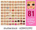 vector set 81 social media... | Shutterstock .eps vector #628431392