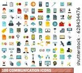 100 communication icons set.... | Shutterstock .eps vector #628434476
