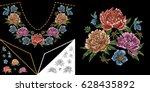 embroidery neckline design.... | Shutterstock .eps vector #628435892