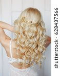 wedding hairstyle with... | Shutterstock . vector #628437566