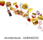 composition from fast food.... | Shutterstock . vector #628440242