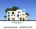 mediterranean houses  palms and ... | Shutterstock .eps vector #628441115