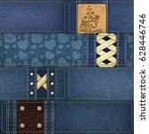 seamless denim patchwork... | Shutterstock . vector #628446746