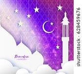 purple ramadan kareem greeting... | Shutterstock .eps vector #628459676