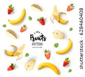 pattern with banana  strawberry ... | Shutterstock . vector #628460408