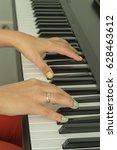 beautiful female fingers... | Shutterstock . vector #628463612