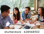 cheerful friends having fun... | Shutterstock . vector #628468502