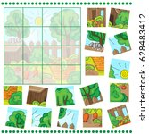 jigsaw puzzle game with farm... | Shutterstock .eps vector #628483412