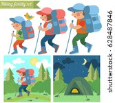 hiking family. father  mother... | Shutterstock .eps vector #628487846