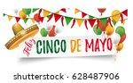 banner with sombrero  balloons  ... | Shutterstock .eps vector #628487906