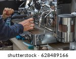 preparing espresso with... | Shutterstock . vector #628489166