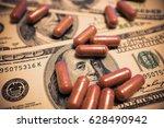 capsule on the one hundred...   Shutterstock . vector #628490942