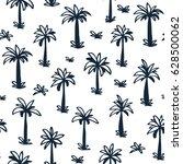 seamless tropical palm ... | Shutterstock .eps vector #628500062