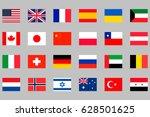24 different national flags set | Shutterstock .eps vector #628501625