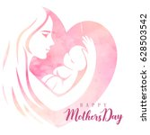 mother with her baby. card of... | Shutterstock .eps vector #628503542