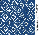 ikat blue mosaic indigo shibori ... | Shutterstock .eps vector #628507715