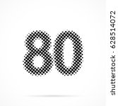 number eighty  80 in halftone.... | Shutterstock .eps vector #628514072