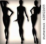 fashion silhouette models posing   Shutterstock . vector #628522655