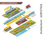 trains infographics with... | Shutterstock .eps vector #628527026