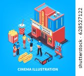 cinematography isometric design ... | Shutterstock .eps vector #628527122