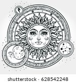vintage hand drawn sun  moon ... | Shutterstock .eps vector #628542248