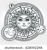 vintage hand drawn sun  moon ... | Shutterstock .eps vector #628542248