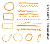 hand drawn arrows and circles... | Shutterstock .eps vector #628556576
