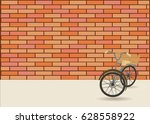 vintage bicycle and orange old... | Shutterstock .eps vector #628558922