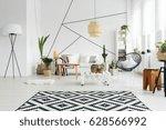 black and white decor of cozy... | Shutterstock . vector #628566992
