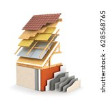 exterior insulation and... | Shutterstock . vector #628568765