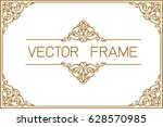 gold photo frame with corner... | Shutterstock .eps vector #628570985